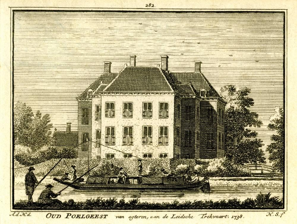 Kasteel Oud Poelgeest in Oegstgeest. Tekening Abraham de Haen, gravure Hendrik Spilman (Uit: Het Verheerlykt Nederland, Isaac Tirion, 1745/1774)